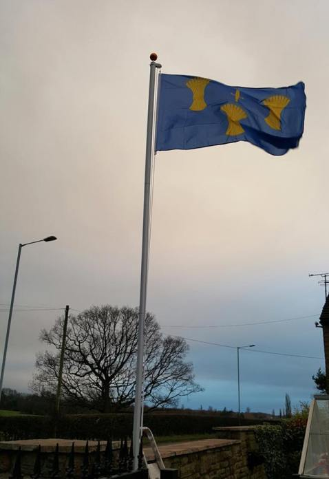 The Cheshire flag flying in Stockport, located by Brady Ells.