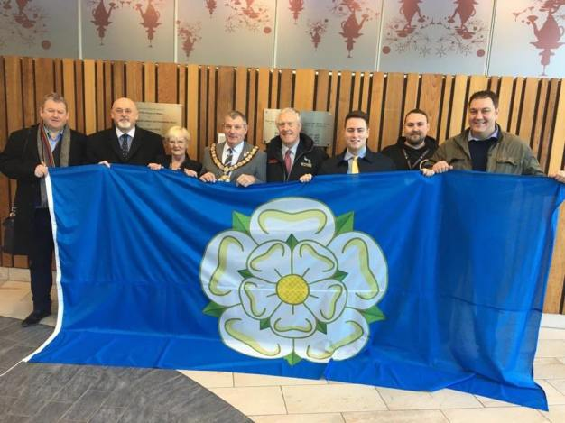 A large flag of Yorkshire presented by Redcar councillors.