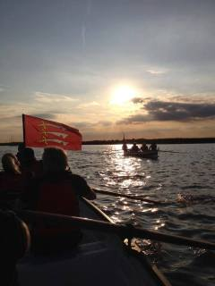 The Essex flag at sea from South Woodham Ferrers Yacht Club.