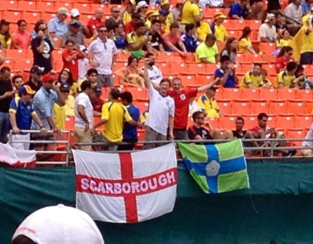 The North Riding flag at the England v Ecuador match in Miami. Thanks to Paul Swaddle for this picture.