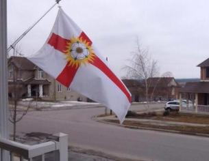 The West Riding Flag flies in Oshawa, Ontario, Canada on West Riding Day.