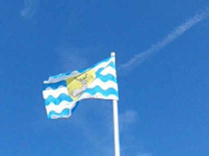 The flag of Hertfordshire flies at Shenley Cricket Club - 2014.png