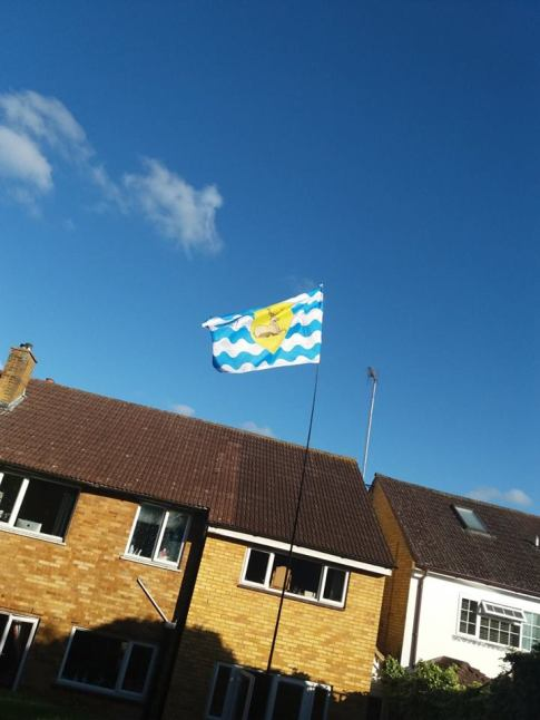 The flag of Hertfordshire flying in HItchin, from Christian Clark