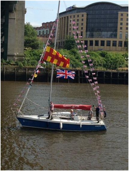 A Northumberland flag on the River Tyne.