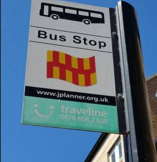 In Northumberland the bus stops sport the county flag. Photo from Allan McLean.