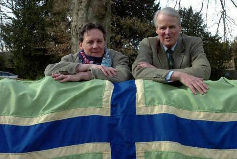 Jeremy Bentall, designer left, with Jonathon Carr, former High Sherrif of the county, who established the competition to secure a flag for the county.