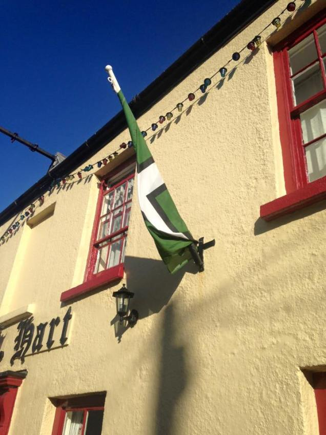 The county flag on display at Buckfastleigh, Devon. Picture from Brady Ells.