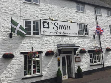 The Devon flag in Bampton, from Brady Ells.