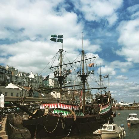 The flag of Devon over the Golden Hind, Brixham