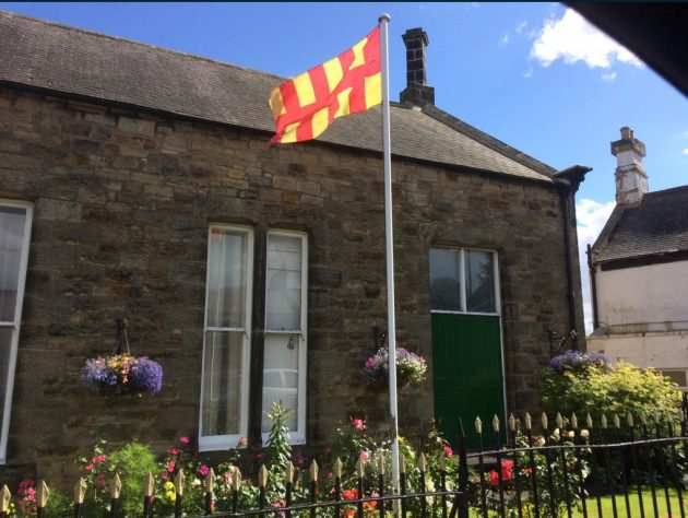 The Northumberland flag flies at Bellingham.