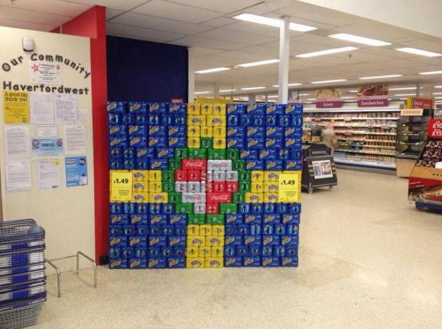 The staff of Tesco's, Haverfordwest, built their county flag in drink cans!