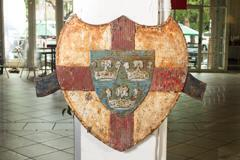 the-east-anglian-flag-design-on-a-rather-old-looking-metal-shield-bearing-the-same-design-has-been-the-subject-of-a-sale-in-california