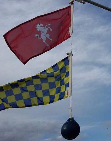 The flags of neighbours Kent and Surrey flying together, located by Dominic V.M. Smith.