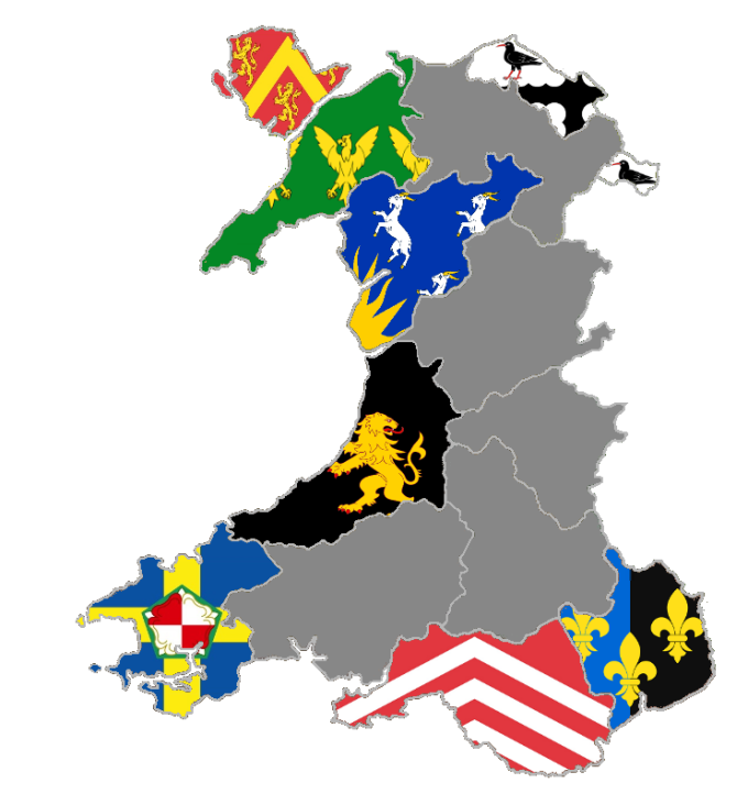 Wales County Flag Map March 27th 2017