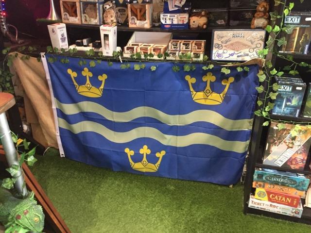 Lockhouse Escape Rooms in Cambridge displaying the Cambridgeshire flag!