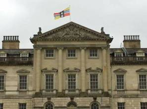 Bedfordshire flag over Woburn Abbey today
