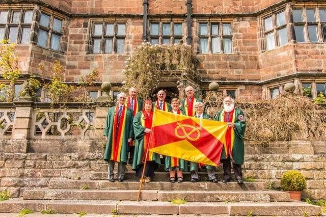 Stafford Burgesses with the county flag, at Caverswall Castle yesterday. From Paul Milgate-Scarrot, posted by Pete Glover.