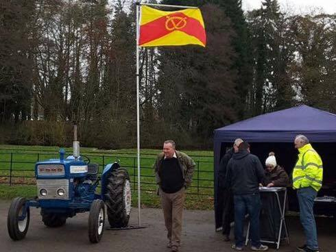 Staffordshire tractor enthusiasts with their county flag.2