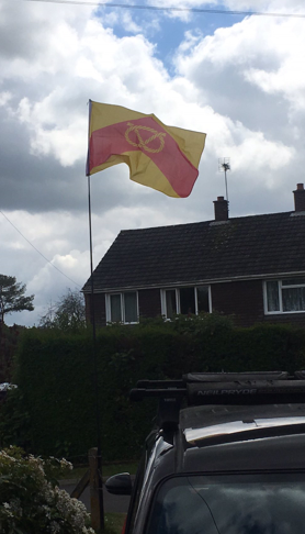 The county flag flying on Staffordshire Day 2017.