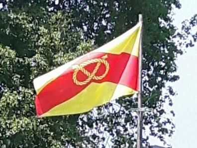 The Staffordshire flag flying in the county.
