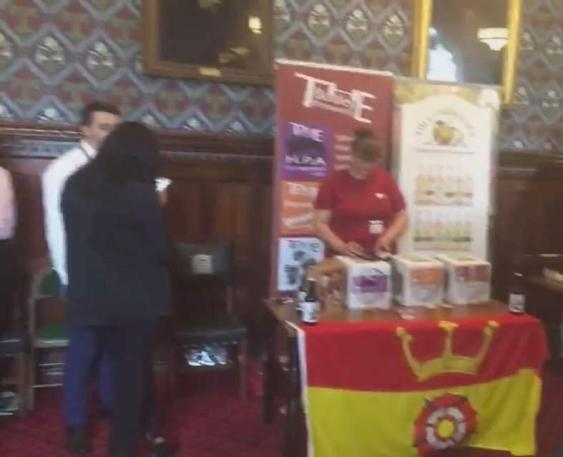 The county flag at the Hampshire Showcase at Parliament