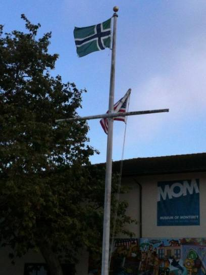 The flag of South Uist flying from the mast head of a maritime museum in Monterrey, California!