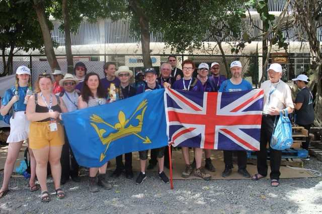 A group from Suffolk celebrating World Youth Day in Panama, in 2018, presents the county flag.