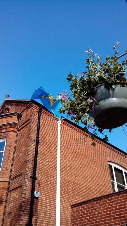 Flag raised at Felixstowe town hall for Suffolk day. Glorious morning