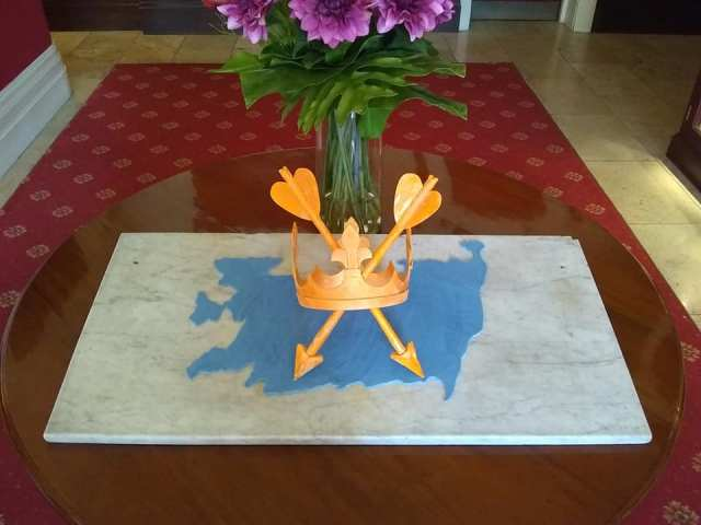 Pastry Chef Nick Miles's fabulous #SuffolkDay creation at the Orwell Hotel, Felixstowe and the Suffolk County flag1
