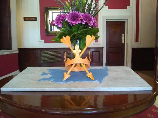 Pastry Chef Nick Miles's fabulous #SuffolkDay creation at the Orwell Hotel, Felixstowe and the Suffolk County flag2