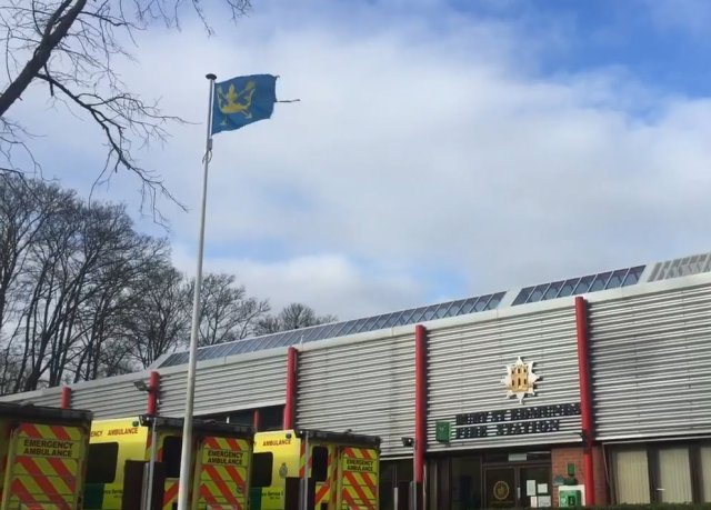 The county flag of Suffolk flying at Bury Saint Edmunds fire station