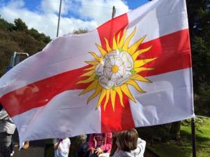 The flag of the West Riding of Yorkshire flying in Oxenhope, May 2nd. Thanks to Stuart Berry.